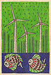 Illustrative image of fishes swimming and windmills representing environmental conservation