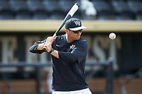 Wake Forest Demon Deacons volunteer assistant Joey Hammond (29) hits ground balls during infield practice prior to the game against the Liberty Flames at David F. Couch Ballpark on April 25, 2018 in  Winston-Salem, North Carolina.  The Demon Deacons defeated the Flames 8-7.  (Brian Westerholt/Four Seam Images)