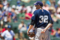 New Orleans Zephyrs pitcher Jay Rogers #32 looks to his catcher for the sign during the Pacific Coast League baseball game against the Round Rock Express on May 4, 2014 at the Dell Diamond in Round Rock, Texas. The Express defeated the Zephyrs 15-12. (Andrew Woolley/Four Seam Images)