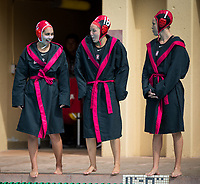 Stanford, CA - March 8, 2020: Emalia Eichelberger, Thea Walsh, Kayla Constandse at Avery Aquatic Center. The No. 2 Stanford Women's Water Polo team beat the No. 6 Arizona State Sun Devils 9-8.