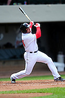 Pawtucket Red Sox first baseman Luke Montz (44) during a game versus the Syracuse Chiefs at McCoy Stadium in Pawtucket, Rhode Island on April 30, 2015.  (Ken Babbitt/Four Seam Images)