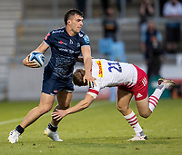 4th June 2021; AJ Bell Stadium, Salford, Lancashire, England; English Premiership Rugby, Sale Sharks versus Harlequins; Cameron Neild of Sale Sharks is tackled by Scott Steele of Harlequins