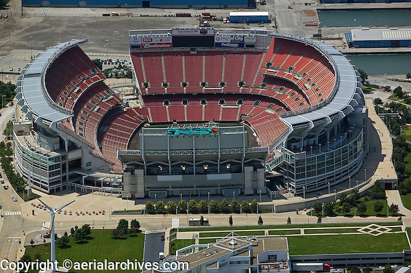 aerial photograph of the FirstEnergy Stadium, Cleveland, Ohio, home of the Cleveland Browns