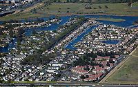 aerial photograph of residential development along the Napa River, City of Napa, California