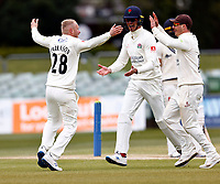 Matt Parkinson (L) of Lancashire is congratulated after taking the wicket of Jack Leaning during Kent CCC vs Lancashire CCC, LV Insurance County Championship Group 3 Cricket at The Spitfire Ground on 25th April 2021