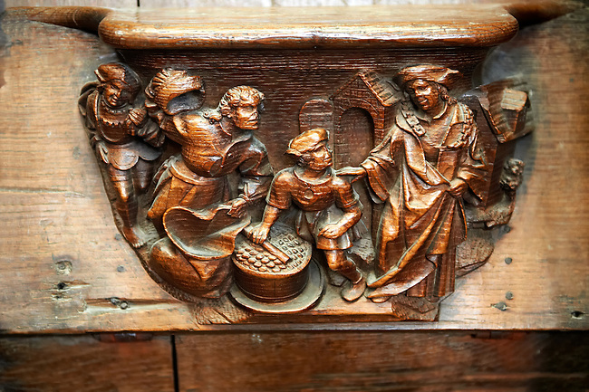 Medieval Gothic choir seat carvings. Cathedral of Notre-Dame, Amiens, France