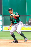 Great Lakes Loons second baseman Marcus Chiu (5) awaits a throw during a Midwest League game against the Wisconsin Timber Rattlers on May 12, 2018 at Fox Cities Stadium in Appleton, Wisconsin. Wisconsin defeated Great Lakes 3-1. (Brad Krause/Four Seam Images)