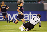 LA Sol's Marta attempts to move past Sky Blue goalkeeper Jenni Branam towards the goal. The LA Sol defeated Sky Blue FC 1-0 at Home Depot Center stadium in Carson, California on Friday May 15, 2009.   .