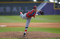 NJIT Highlanders relief pitcher Brett Lubreski (18) delivers a pitch to the plate against the High Point Panthers at Williard Stadium on February 18, 2017 in High Point, North Carolina. The Panthers defeated the Highlanders 11-0 in game one of a double-header. (Brian Westerholt/Four Seam Images)