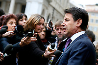 Giuseppe Conte <br /> Rome March 5th 2019. Palazzo Chigi. The Italian Prime Minister surrounded by journalists, cameraman and photographers, while speaks to press after the meeting with the minister of internal affairs and the minister of economic development about TAV (Turin–Lyon high-speed railway).<br /> Foto Samantha Zucchi Insidefoto