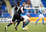St Johnstone v Motherwell…07.04.18…  McDiarmid Park    SPFL<br />Steven MacLean is closed down by Tom Aldred and Gael Bigirimana<br />Picture by Graeme Hart. <br />Copyright Perthshire Picture Agency<br />Tel: 01738 623350  Mobile: 07990 594431