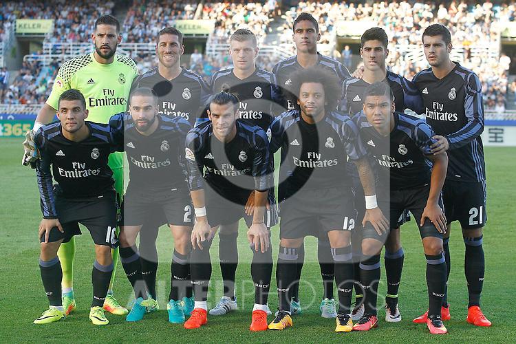 Real Madrid's team photo with Kiko Casilla, Sergio Ramos, Toni Kroos, Raphael Varane, Marco Asensio, Alvaro Morata, Mateo Kovacic, Daniel Carvajal, Garet Bale, Marcelo Vieira and Carlos Henrique Casemiro during La Liga match. August 21,2016. (ALTERPHOTOS/Acero)