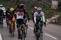 Thomas de Gendt (BEL/Lotto-Soudal) getting rid of his cap<br /> <br /> 76th Paris-Nice 2018<br /> Stage 7: Nice > Valdeblore La Colmiane (175km)