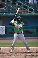 Abraham Almonte (7) of the Gwinnett Stripers at bat against the Charlotte Knights at Truist Field on May 9, 2021 in Charlotte, North Carolina. (Brian Westerholt/Four Seam Images)