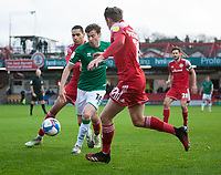 Lincoln City's Conor McGrandles battles with Accrington Stanley's Jon Russell, left, and Joe Pritchard<br /> <br /> Photographer Andrew Vaughan/CameraSport<br /> <br /> The EFL Sky Bet League One - Accrington Stanley v Lincoln City - Saturday 21st November 2020 - Crown Ground - Accrington<br /> <br /> World Copyright © 2020 CameraSport. All rights reserved. 43 Linden Ave. Countesthorpe. Leicester. England. LE8 5PG - Tel: +44 (0) 116 277 4147 - admin@camerasport.com - www.camerasport.com