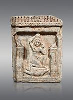 Egyptian stele of Theanou, limestone, Roman Period, 1st cent AD, Com Abu Billo, cat 18117. Egyptian Museum, Turin. Grey Background
