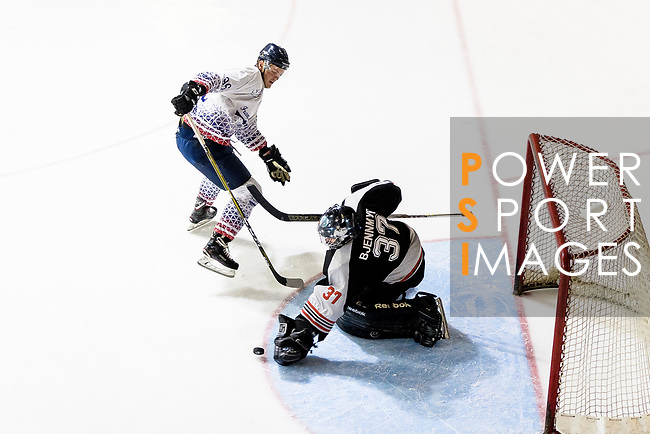 Jimmy Bjennmyr of Nordic Vikings (R) makes a save on Luc Delecour of Flying French (L) during the Mega Ice Hockey 5s match between Nordic Vikings and Flying French on May 04, 2018 in Hong Kong, Hong Kong. Photo by Marcio Rodrigo Machado / Power Sport Images