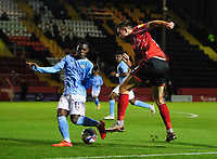 Lincoln City's Tom Hopper vies for possession with Manchester City U21's Claudio Gomes<br /> <br /> Photographer Chris Vaughan/CameraSport<br /> <br /> EFL Papa John's Trophy - Northern Section - Group E - Lincoln City v Manchester City U21 - Tuesday 17th November 2020 - LNER Stadium - Lincoln<br />  <br /> World Copyright © 2020 CameraSport. All rights reserved. 43 Linden Ave. Countesthorpe. Leicester. England. LE8 5PG - Tel: +44 (0) 116 277 4147 - admin@camerasport.com - www.camerasport.com