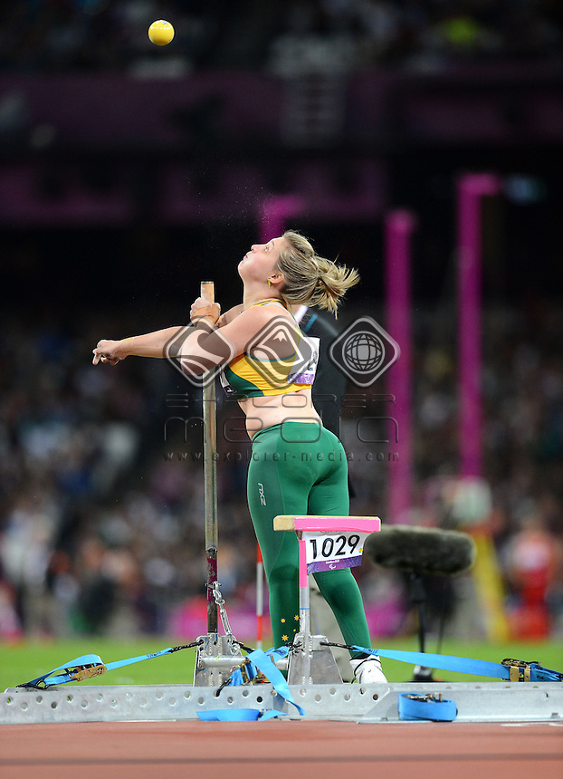 Brydee Moore (AUS) competes in the Women's Shot Put F33<br /> Athletics (Thursday 6th Sept) - Olympic Stadium<br /> Paralympics - Summer / London 2012 <br /> London, England 29 Aug - 9 Sept<br /> © Sport the library/Courtney Crow