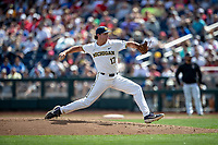Michigan Wolverines pitcher Jeff Criswell (17) delivers a pitch to the plate during Game 1 of the NCAA College World Series against the Texas Tech Red Raiders on June 15, 2019 at TD Ameritrade Park in Omaha, Nebraska. Michigan defeated Texas Tech 5-3. (Andrew Woolley/Four Seam Images)