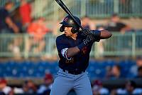 State College Spikes Dariel Gomez (34) at bat during a NY-Penn League game against the Mahoning Valley Scrappers on August 29, 2019 at Eastwood Field in Niles, Ohio.  State College defeated Mahoning Valley 8-1.  (Mike Janes/Four Seam Images)