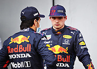 17th April 2021; Autodromo Enzo and Dino Ferrari, Imola, Italy; F1 Grand Prix of Emilia Romagna, Qualifying sessions; Sergio Perez MEX, Red Bull Racing chats with team mate Max Verstappen NED, Red Bull Racing