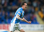 St Johnstone v Hearts…10.08.16..  McDiarmid Park…BetFred Cup<br />Danny Swanson celebrates his goal<br />Picture by Graeme Hart.<br />Copyright Perthshire Picture Agency<br />Tel: 01738 623350  Mobile: 07990 594431