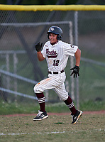 Braden River Pirates Sean Vitug (12) scores a run during a game against the Venice Indians on February 25, 2021 at Braden River High School in Bradenton, Florida. (Mike Janes/Four Seam Images)