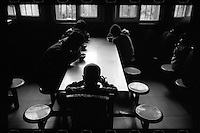 Blind and visually impaired Tibetan students have breakfast at the canteen of the School for the Blind in Tibet, in the capital city of Lhasa, September 2016.