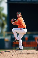 Baltimore Orioles pitcher Reed Hayes (41) delivers a pitch during an Instructional League game against the Atlanta Braves on September 25, 2017 at Ed Smith Stadium in Sarasota, Florida.  (Mike Janes/Four Seam Images)