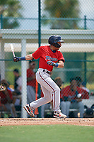 GCL Twins Jim Caceres (5) bats during a Gulf Coast League game against the GCL Pirates on August 6, 2019 at Pirate City in Bradenton, Florida.  GCL Twins defeated the GCL Pirates 1-0 in the second game of a doubleheader.  (Mike Janes/Four Seam Images)