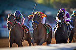 ARCADIA, CA - FEBRUARY 06: Hoppertunity #5, ridden by Flavian Prat battles to the wire with Imperative #7, ridden by Mike Smith and Donworth #2, ridden by Mario Gutierrez to win the San Antonio Stakes at Santa Anita Park on February 06, 2016 in Arcadia, California. (Photo by Alex Evers/Eclipse Sportswire/Getty Images)