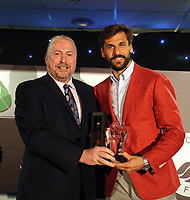 Pictured: Fernando Llorente (R) receive one of his awards Wednesday 18 May 2017<br /> Re: Swansea City FC, Player of the Year Awards at the Liberty Stadium, Wales, UK.