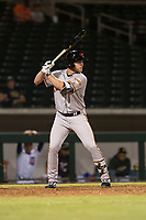 Scottsdale Scorpions right fielder Heath Quinn (45), of the San Francisco Giants organization, at bat during an Arizona Fall League game against the Mesa Solar Sox at Sloan Park on October 10, 2018 in Mesa, Arizona. Scottsdale defeated Mesa 10-3. (Zachary Lucy/Four Seam Images)
