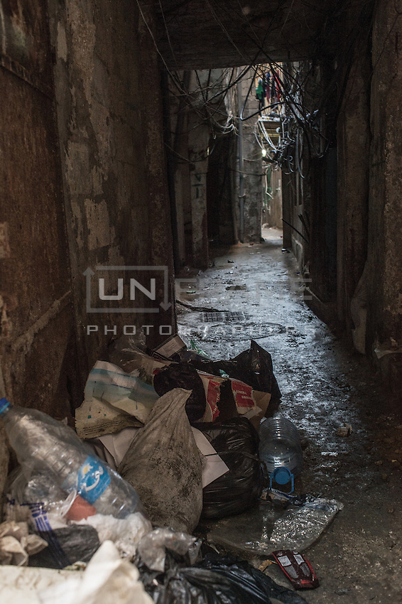 Streets with garbage in Shatila. Beirut, Lebanon 2015