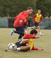 Steve Cherundolo and Benny Feilhaber.  U.S. Men's National Team training at RFK Stadium  Monday October 12, 2009  in Washington, D.C.