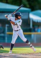 29 August 2019: Vermont Lake Monsters infielder Yerdel Vargas in action during a game against the Connecticut Tigers at Centennial Field in Burlington, Vermont. The Lake Monsters fell to the Tigers 6-2 in the first game of their NY Penn League double-header.  Mandatory Credit: Ed Wolfstein Photo *** RAW (NEF) Image File Available ***