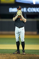 USC Trojans relief pitcher Chris Clarke (44) looks to his catcher for the sign against the Wake Forest Demon Deacons at David F. Couch Ballpark on February 24, 2017 in  Winston-Salem, North Carolina.  The Demon Deacons defeated the Trojans 15-5.  (Brian Westerholt/Four Seam Images)
