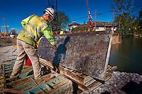Main Street Bridge construction over Alum Creek in Westerville OH.