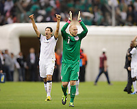 Mexico City, Mexico -Tuesday, March 26 2013: USA ties Mexico 0-0 during World Cup Qualifying at Estadio Azteca. Brad Guzan  and Omar Gonzales celebrate after the match.
