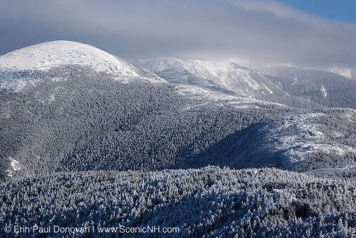 Appalachian Trail - Mount Eisenhower covered in snow from Crawford Path in the White Mountains, New Hampshire USA.
