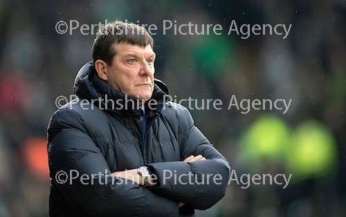 St Johnstone v Celtic…05.02.17     SPFL    McDiarmid Park<br />An unhappy saints manager Tommy Wright<br />Picture by Graeme Hart.<br />Copyright Perthshire Picture Agency<br />Tel: 01738 623350  Mobile: 07990 594431