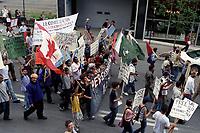 Pakistan refugee<br /> demonstration circa 2003<br /> <br /> FILE PHOTO : Agence quebec Presse