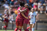 STANFORD, CA - SEPTEMBER 12: Amy Sayer and Nya Harrison during a game between Loyola Marymount University and Stanford University at Cagan Stadium on September 12, 2021 in Stanford, California.