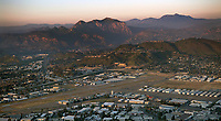 aerial photograph of Gillespie Field (SEE), El Cajon,  San Diego County, California at sunset