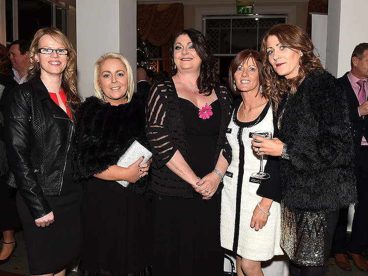 Denise Martin, Sarah Higgins, Yvonne Halpenny, Ronnie Bird and Kelly Mullarkey from 'Deli-Licious' winners of the 'Best New Business' Award at the Ardee Traders Awards night in the Nuremore hotel Carrickmacross. Photo:Colin Bell/pressphotos.ie