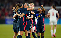 ORLANDO, FL - MARCH 05: Christen Press #23 of the United States scores a goal and celebrates with Tobin Heath #17, Carli Lloyd #10, Lindsey Horan #9, Crystal Dunn #19 and the USWNT during a game between England and USWNT at Exploria Stadium on March 05, 2020 in Orlando, Florida.