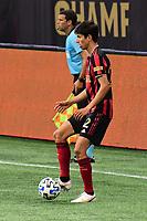 ATLANTA, GA - AUGUST 29: Jurgen Damm #22 of Atlanta United dribbles the ball during a game between Orlando City SC and Atlanta United FC at Marecedes-Benz Stadium on August 29, 2020 in Atlanta, Georgia.