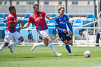 SAN JOSE, CA - APRIL 24: Matt Hedges #24 of FC Dallas chases Cade Cowell #44 of the San Jose Earthquakes during a game between FC Dallas and San Jose Earthquakes at PayPal Park on April 24, 2021 in San Jose, California.