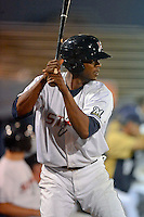 Huntsville Stars shortstop Hector Gomez #4 on deck during a game against the Tennessee Smokies on April 16, 2013 at Joe W Davis Municipal Stadium in Huntsville, Alabama.  Tennessee defeated Huntsville 4-3.  (Mike Janes/Four Seam Images)